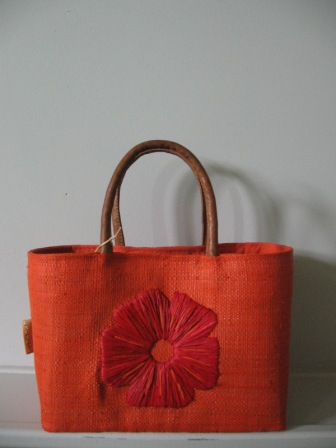 sac à main fleur orange